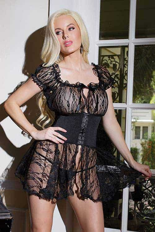 Coquette Floral Lace Babydoll with Waist Band Front