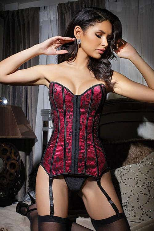 Coquette Fully Boned Black/Red Lace Over Satin Corset Front