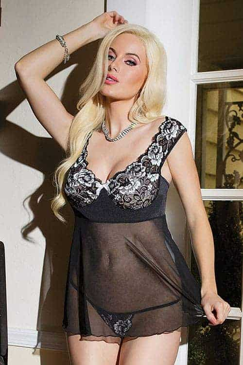 Coquette Scalloped Stretch Lace Babydoll CQ1229 Front
