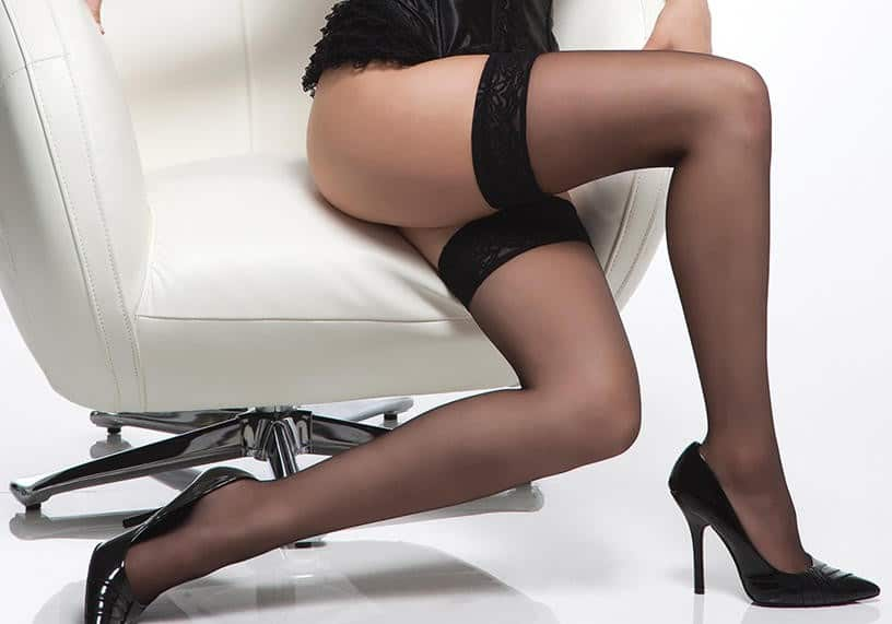 Coquette Sheer Thigh High Stocking with Lace Top CQ1726 BK