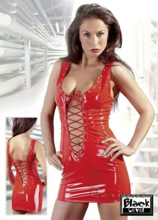 Black Level Lacquered Red Minidress BL251780