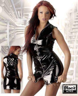 Black Level Black Vinyl Mini Dress with Zip Front BL2850354