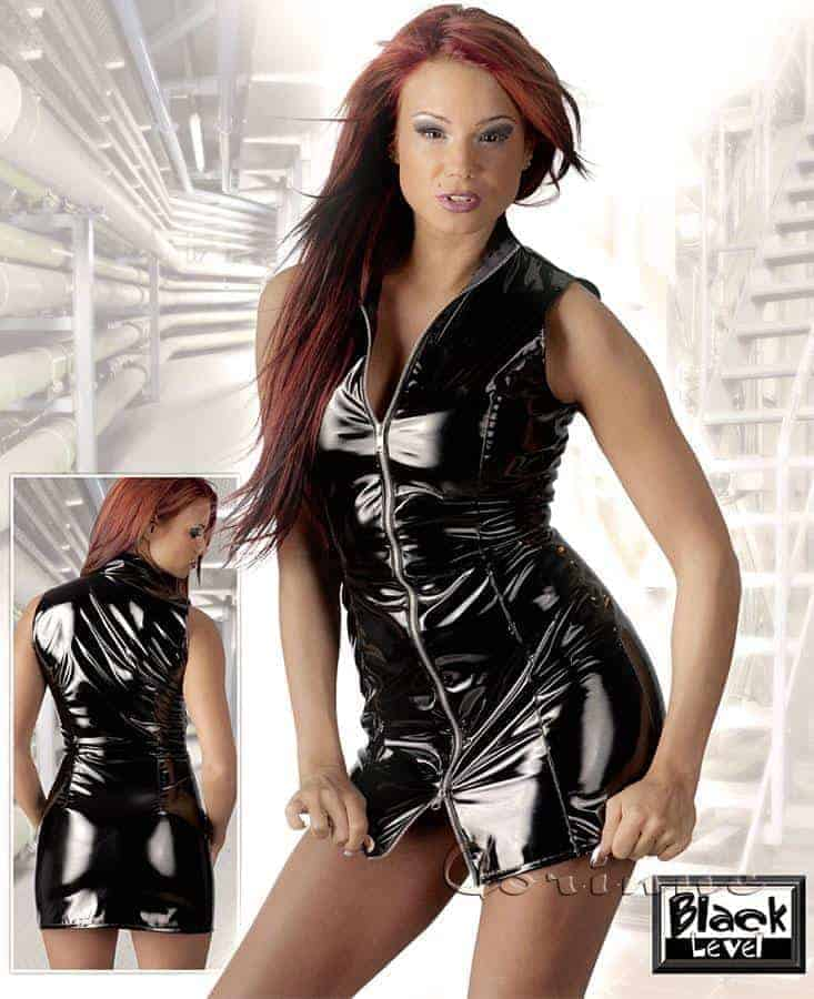 Black Level Black Vinyl Mini Dress with Zip Front BL2850354