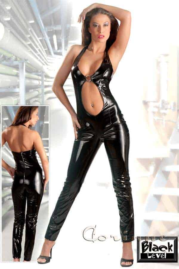 Black Level Vinyl jumpsuit with Front Opening 2850389