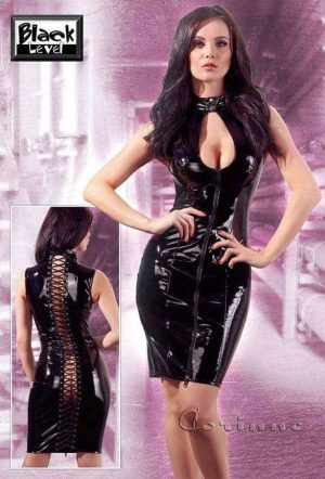 Black Level Vinyl Dress with Zipper and Back Lacing BL2850575 front