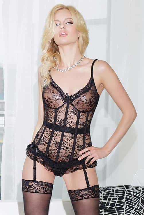 Coquette Stretch Lace Bustier Black Front