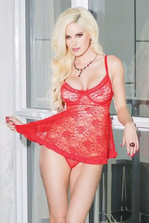 Coquette Stretch Lace Babydoll Red Front