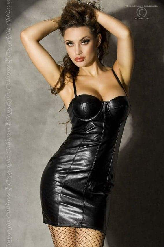 Chilirose Faux leather minidress CR3407 front