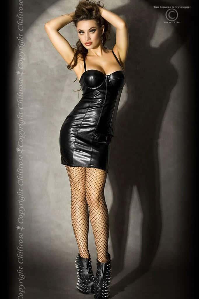 Chilirose Faux leather minidress CR3407 fv2