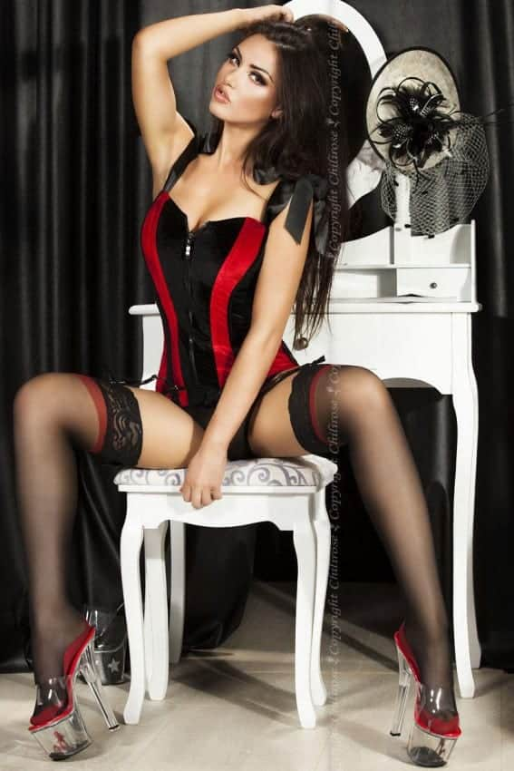 Chilirose Velvet Corset in Black / Red CR3528 front