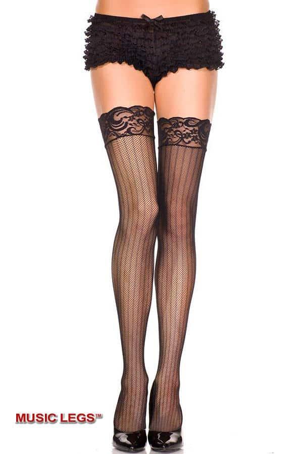 Music Legs Black Fishnet Thigh High Stockings 4857