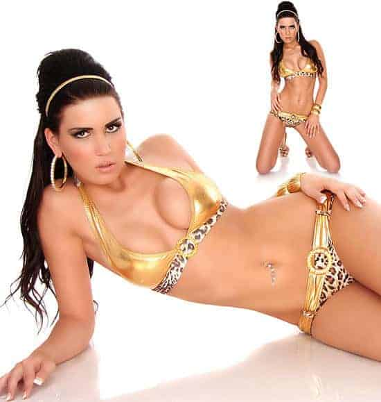 Two Tone Leopard / gold belt Swimwear 8044 front 3