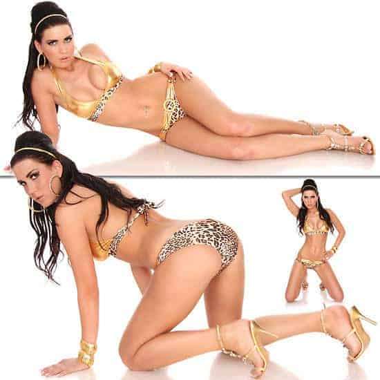 Two Tone Leopard / gold belt Swimwear 8044 front and back