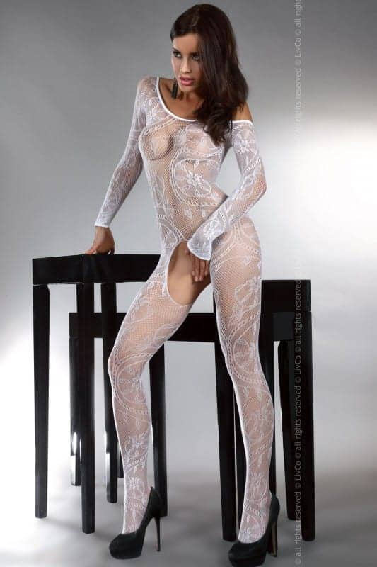 Livia Corsetti Abra White Bodystocking front