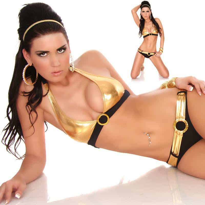 Two-tone Gold/Black with Belt Swimwear VS-B538.01 front
