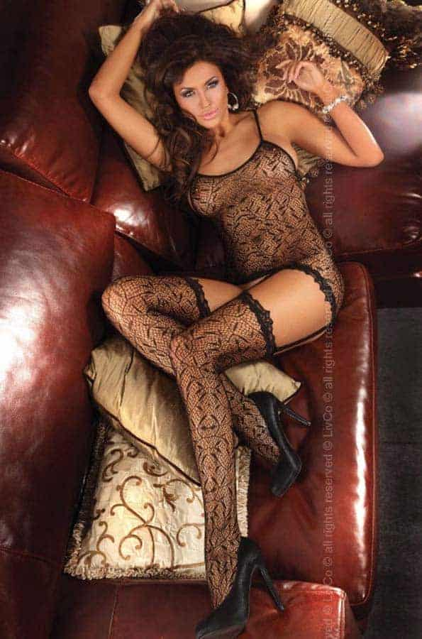 Livco Corsetti Catriona Black Body stocking LC17093 front 2
