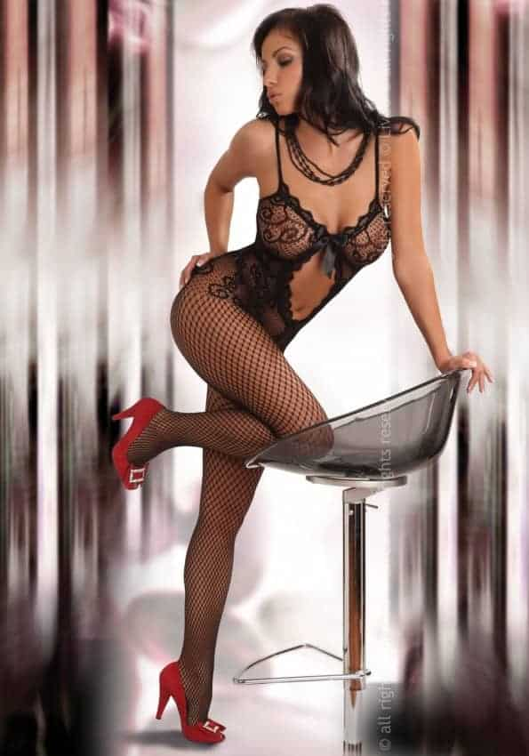 Livco Corsetti Magali Black Body stocking LC 17036 front