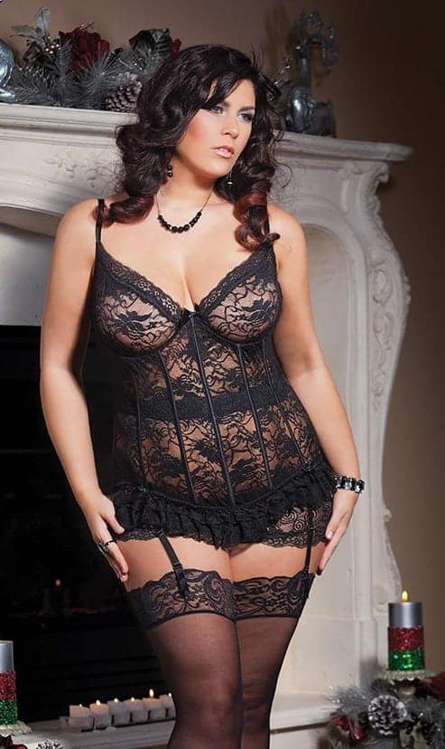 Coquette Stretch Lace Bustier with Mesh and Lace - Plus CQ3393P black front