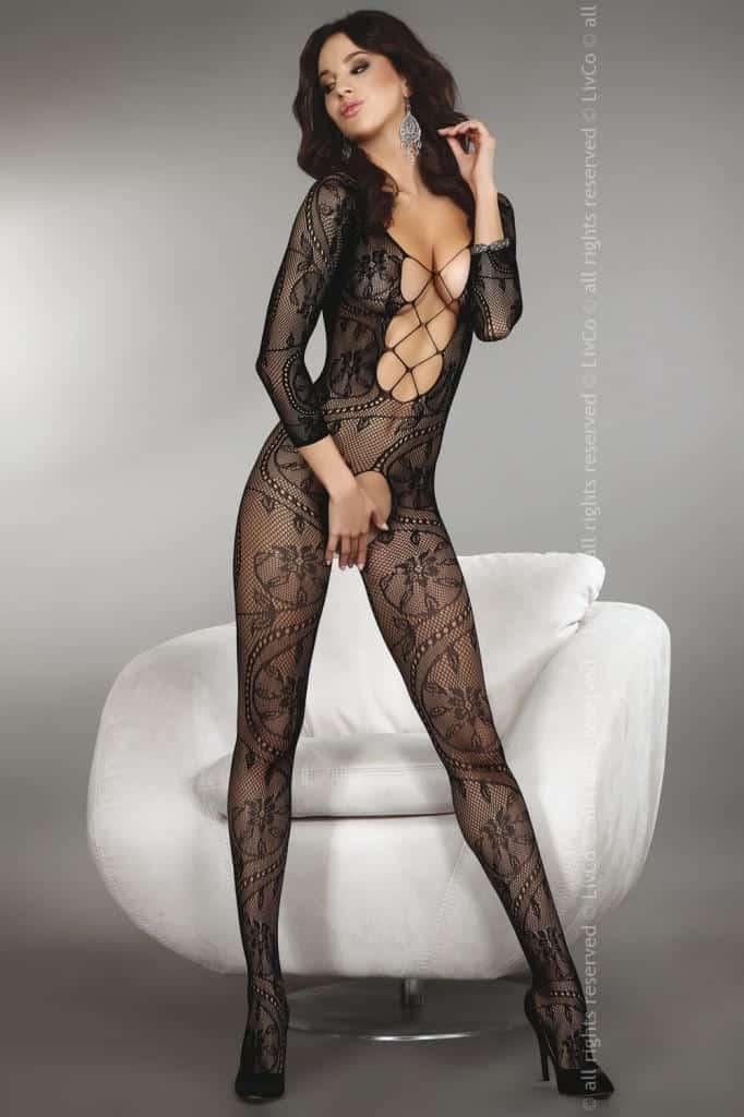 Livia Corsetti Zita Black Body Stocking front