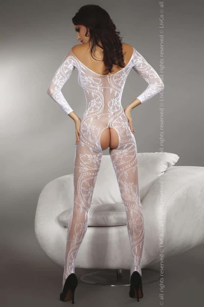 Livia Corsetti Zita White Body Stocking back