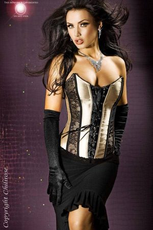 Chilirose Satin Bodice with Lace Inserts CR3255 front