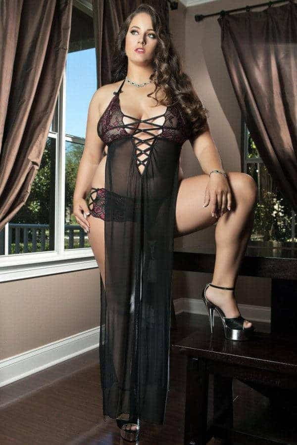 GWorld Sheer Seductive and Sexy Dress Plus Size D1403 front