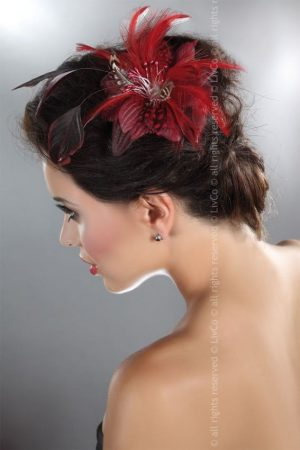 Livco Corsetti Red Hair Clip with Red Feathers model 8