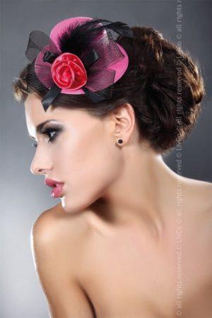 Livco Corsetti Red Rose on Pink Mini Top Hat Model 15