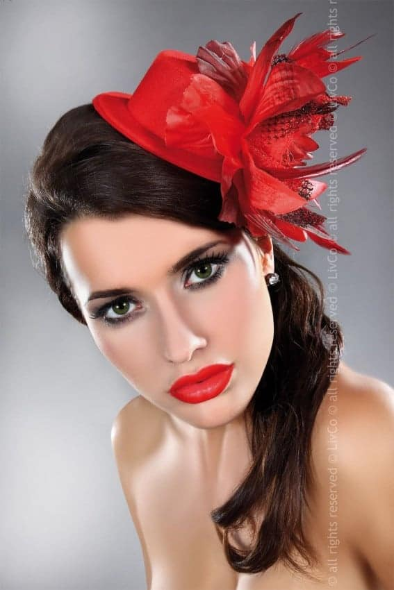 Livco Corsetti Elegant Red Fascinator model 23