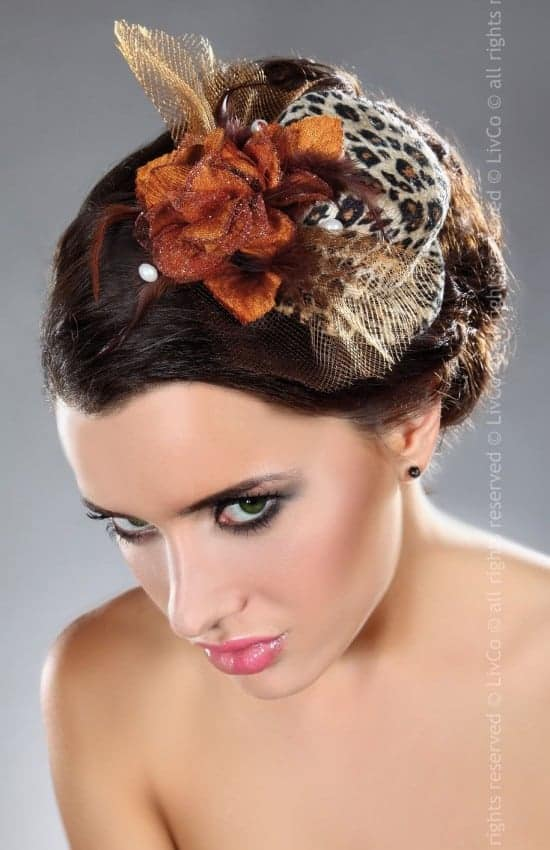 Livco Corsetti Leopard Mini Top Hat Fascinator