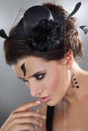 Livco Corsetti Black Mini Top Hat with Black Flower