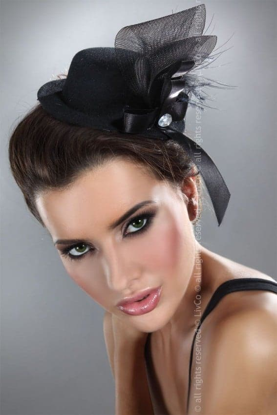 Livia Corsetti Black Mini Top Hat Feathers & Mesh Model 4