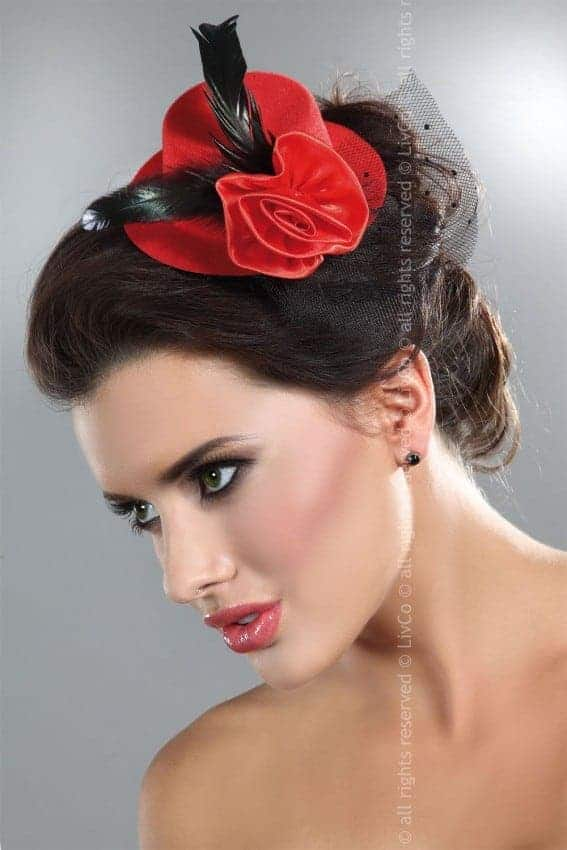 Livco Corsetti Red Fascinator with Black Feathers Model 7