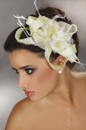 Livia Corsetti Yellow Lace and White Feathers Fascinator Model 29