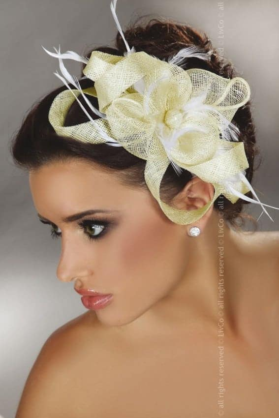 Livia Corsetti Yellow Lace and White Feathers Fascinator Model 29