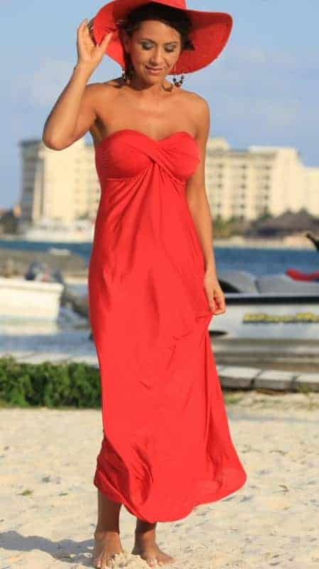 Ujena Celebrity Getaway Dress Red F603RE front2