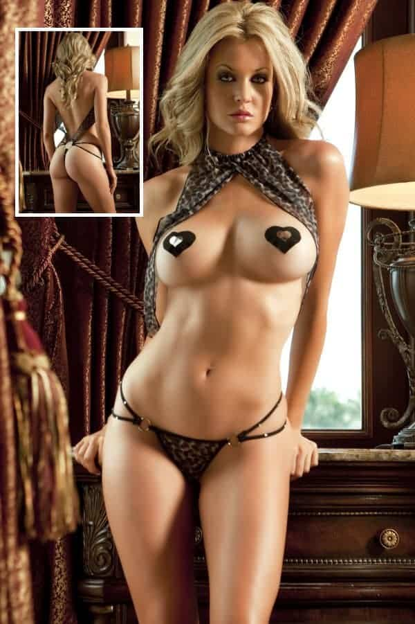 Gworld Leopard One Piece Teddy_ top wrapped over breasts X014 Front and Rear views