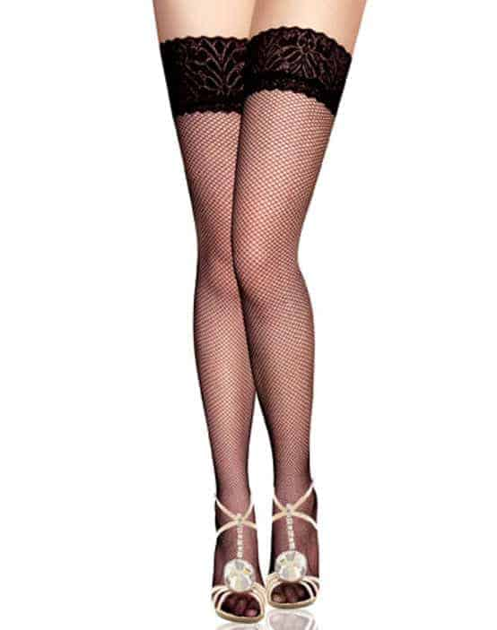 Fishnet Thigh High Stockings and lace Nx-BS8011 O/S front