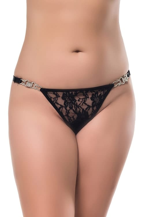 Jewelled Lace G string front 2