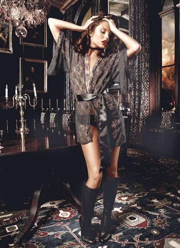 Baci Black Lace Kimono front