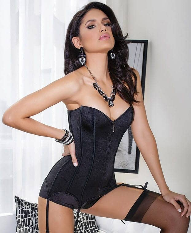 Coquette Black Stretch Knit Corset CQ3728_blk_front