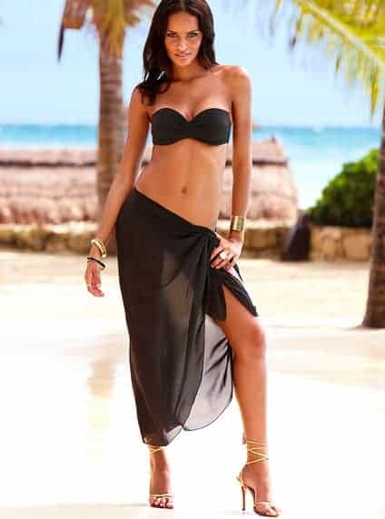 black sheer beach sarong front