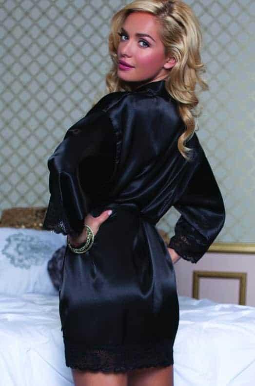 Seven til midnight Enchanting Shiny satin robe back