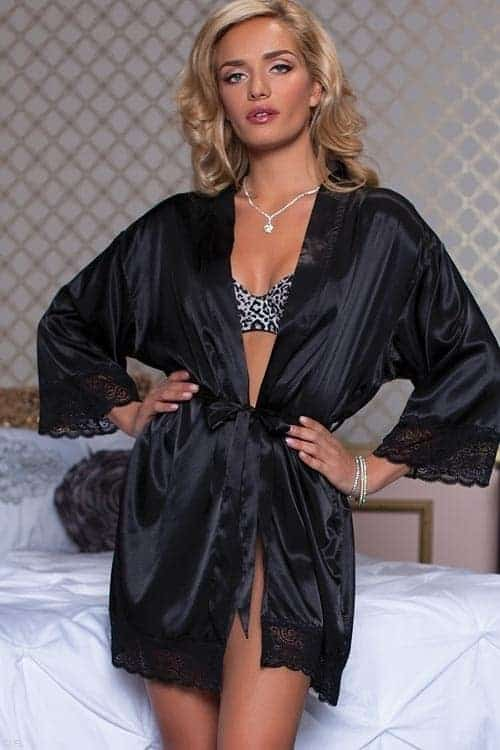 Seven til midnight Enchanting Shiny satin robe front