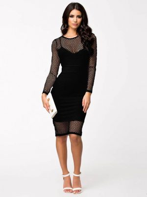 mesh dress black front