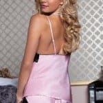 satin lace cami and tap shorts lt pink bv