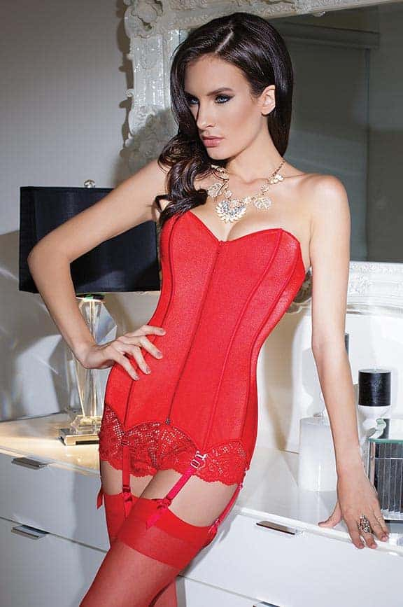 Coquette Red Stretch Knit Corset CQ3728 front