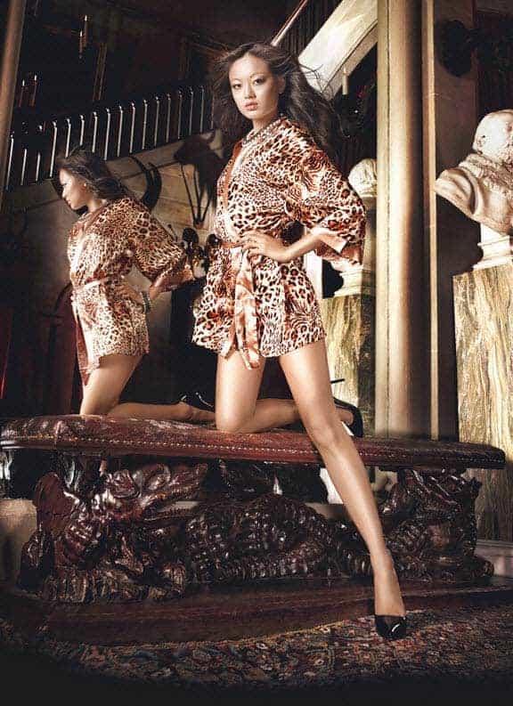 Baci Leopard Satin Kimono 3067 front