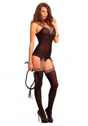 Leg Avenue Reversible bodystocking with leopard print 89131 front