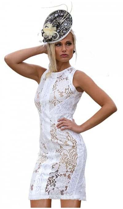 Ameise White Lace Short dress drst-1431-white